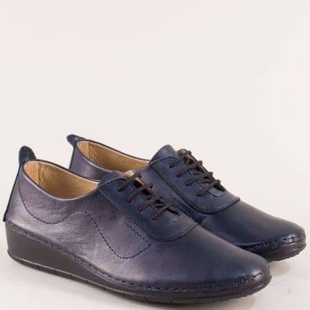 Кожени дамски обувки на платформа в тъмно син цвят mt201s