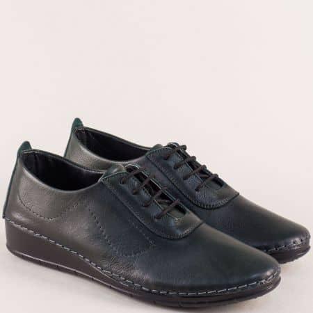 Зелени дамски обувки на платформа с кожена стелка mt201z