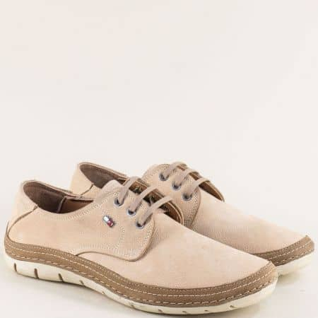 Мъжки обувки с връзки и кожена стелка в бежов цвят mt80nbj