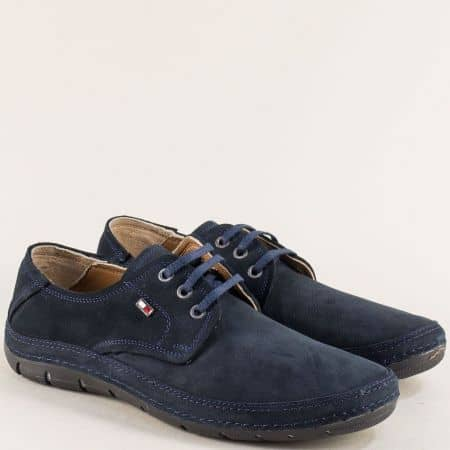 Сини мъжки обувки от естествен набук на шито ходило mt80ns