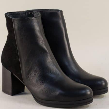 Дамски боти от естествен велур и кожа в черен цвят mus991chvch