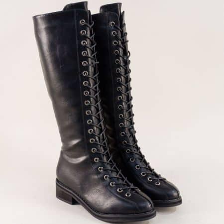 Черни дамски ботуши на нисък ток с връзки и цип mx50ch