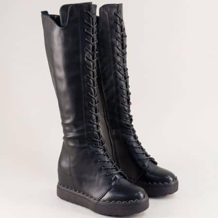 Черни дамски ботуши на скрита платформа с връзки и цип mx66ch