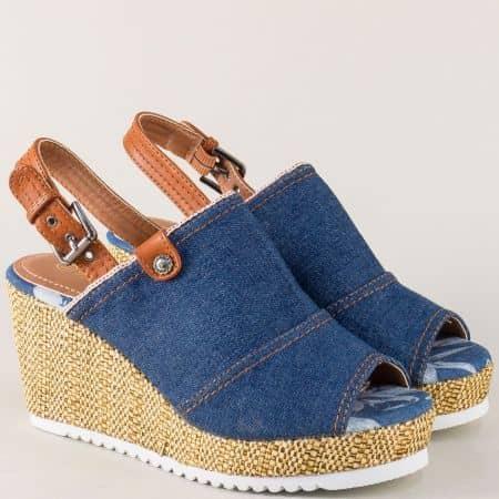 Дамски сандали на платформа в кафяво и синьо my02s