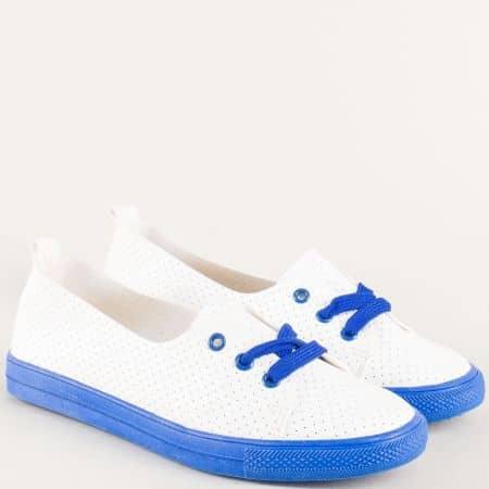 Дамски обувки с връзки и перфорация в синьо и бяло n015s