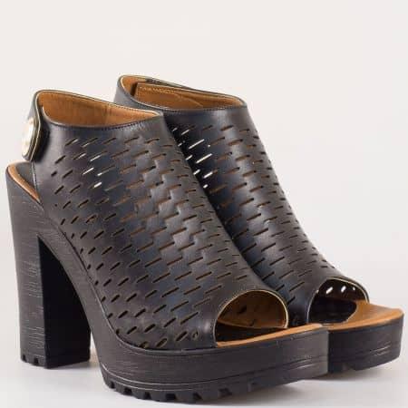 Перфорирани дамски летни боти на висок ток с отворени пръсти и пета от естествена кожа в черен цвят  n01ch