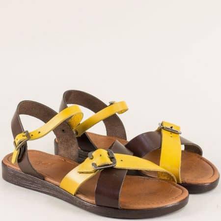 Кожени дамски сандали в жълто и тъмно кафяво n020kj