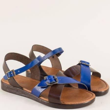 Равни дамски сандали в синьо и тъмно кафяво с катарами n020ks