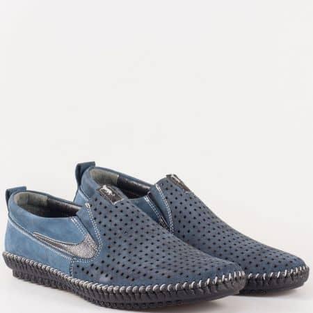 Мъжки комфортни обувки произведени от висококачествен естествен набук и кожа в син цвят m025ns