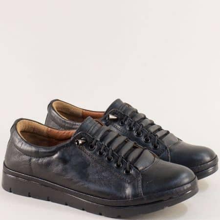 Черни дамски обувки с кожена стелка и ластични връзки n031ch