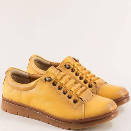 Жълти дамски обувки с кожена стелка и ластични връзки n031j
