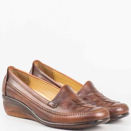 Дамски обувки на клин ходило в кафяво- ортопедични n013kk