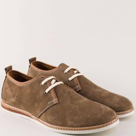 Бежови мъжки обувки с връзки от естествен набук- шити n03nbj