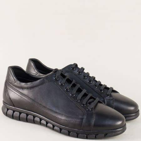 Мъжки обувки в черен цвят изцяло от естествена кожа n041ch