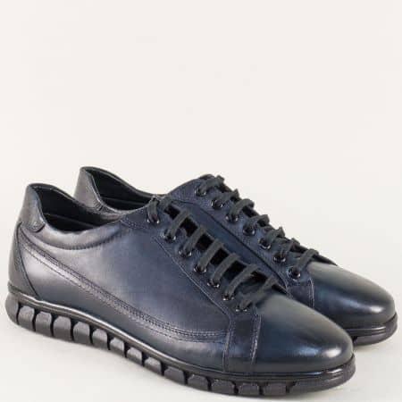 Тъмно сини мъжки обувки с връзки от естествена кожа n041s