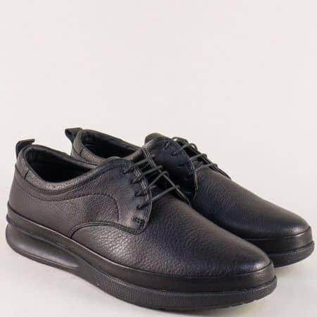 Мъжки обувки с връзки от естествена кожа в черен цвят n043ch