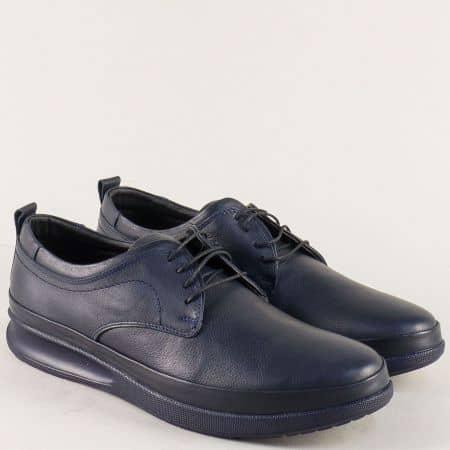 Тъмно сини мъжки обувки от естествена кожа с връзки n043s