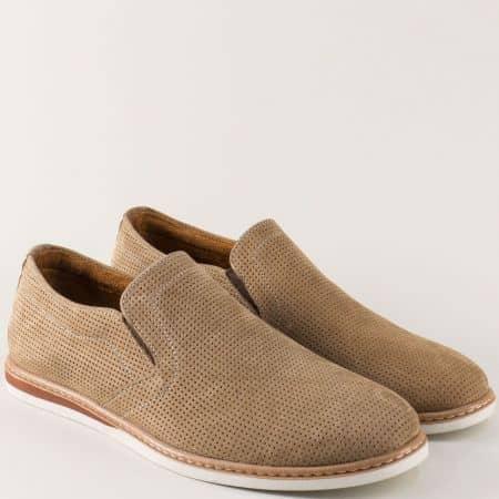 Мъжки обувки в бежов цвят от естествен набук на шито комфортно ходило n080nbj