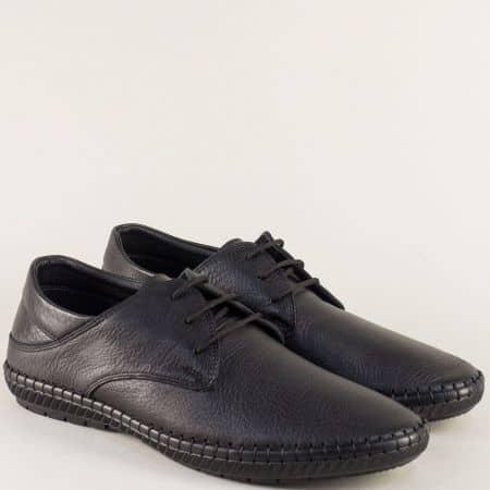 Кожени мъжки обувки на шито ходило в черен цвят n082ch