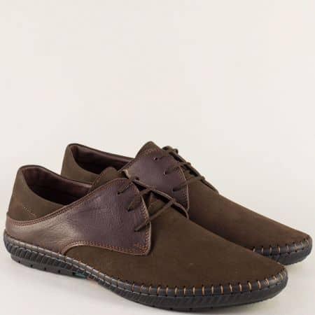 Тъмно кафяви мъжки обувки от естествен набук и кожа n082kknk