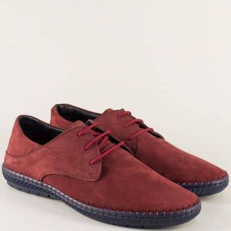 Мъжки обувки от естествен набук и кожа в цвят бордо n082nbd
