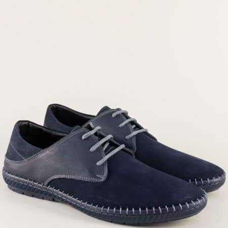 Тъмно сини мъжки обувки от естествен набук и кожа n082sns