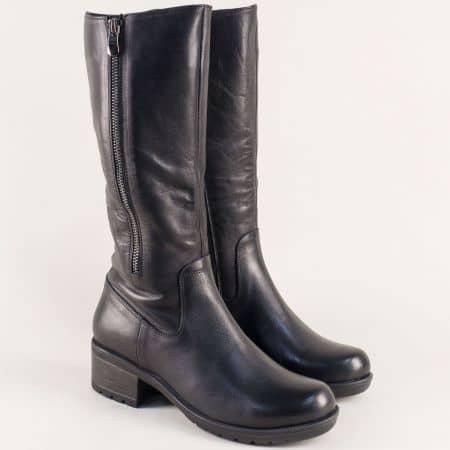 Дамски ботуши с два ципа от естествена кожа в черен цвят n1000ch