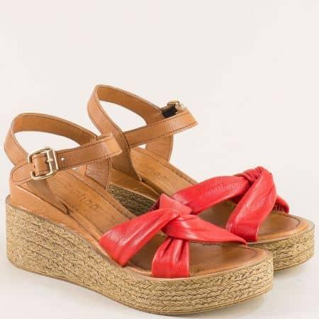 Дамски сандали на платформа в кафяво и червено n100kchv