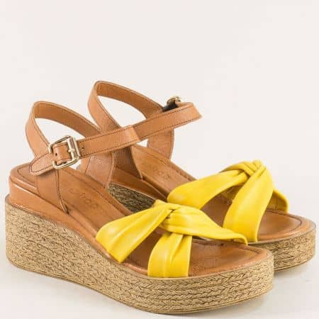 Дамски сандали в жълто и кафяво с кожена стелка n100kj