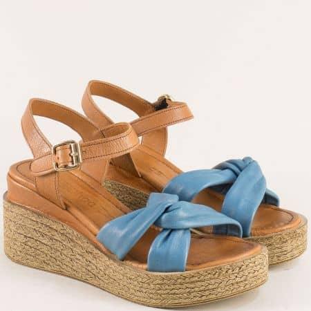 Дамски сандали от естествена кожа в синьо и кафяво n100ks
