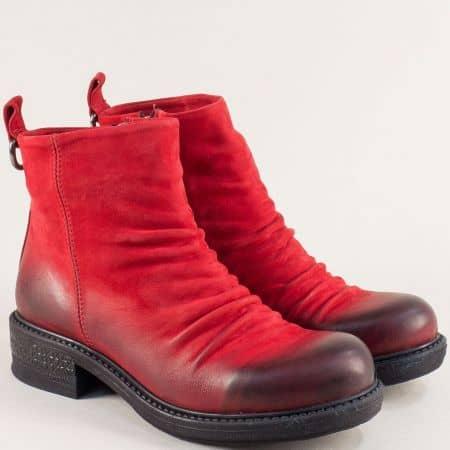 Червени дамски боти от естествен материал с плътен хастар m1010nchv