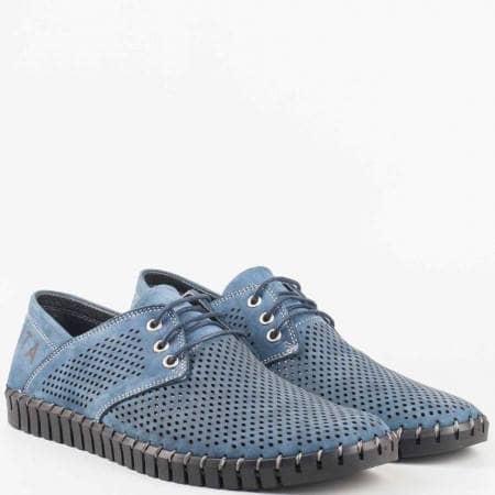 Сини мъжки обувки от естествен набук с връзки, перфорация и външни шевове n106s