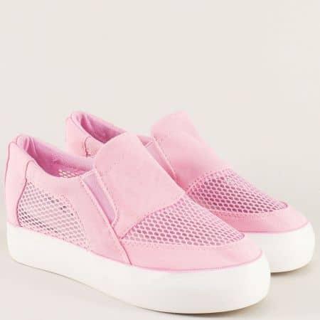 Комфортни дамски обувки на дупки в розов цвят n107rz