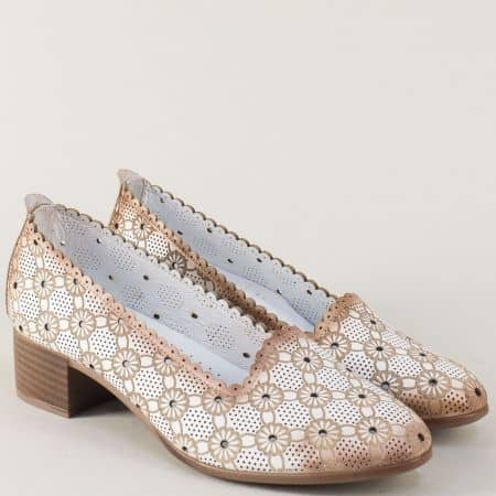 Бели дамски обувки от естествена кожа на нисък ток n112b