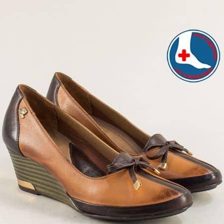 Кафяви дамски обувки от естествена кожа на клин ходило n1350k