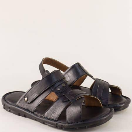 Шити мъжки сандали- чехли от черна естествена кожа n1411ch