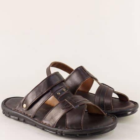 Тъмно кафяви мъжки чехли- сандали от естествена кожа на равно ходило n1411kk