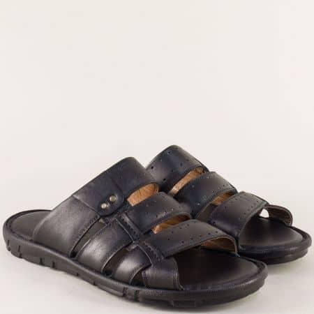 Кожени мъжки чехли в черен цвят на шито ходило n1425ch