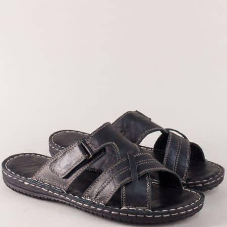 Шити мъжки чехли в черен цвят от естествена кожа n1566ch