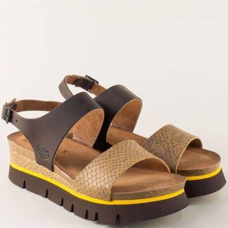Дамски сандали на платформа в кафяво и тъмно кафяво n162kj
