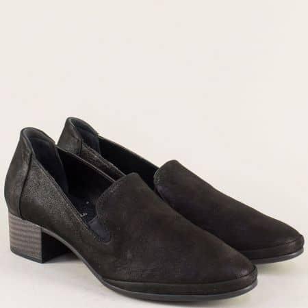 Черни дамски обувки от естествена кожа на среден ток  n207ch
