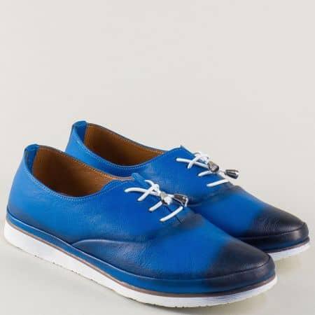 Равни дамски обувки от синя естествена кожа с връзки m265ss