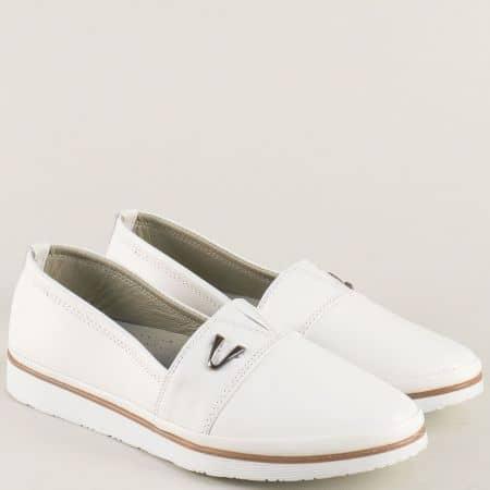 Бели дамски обувки естествена кожа на равно ходило n268bb