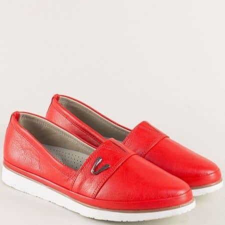 Червени дамски обувки от естествена кожа с ластик n268chv1