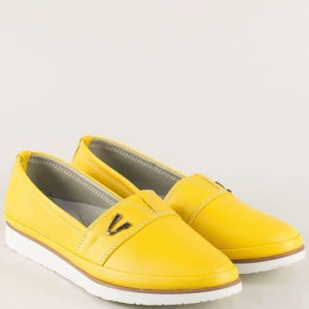 Жълти дамски обувки на равно ходило с кожена стелка n268j