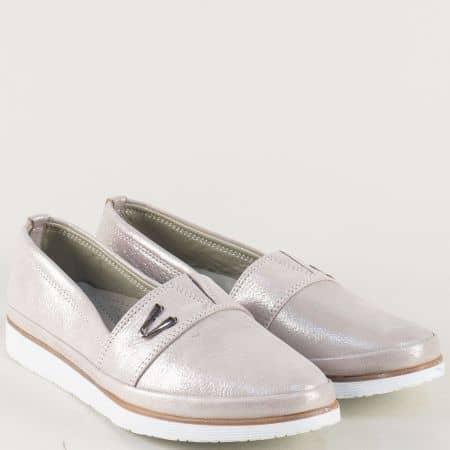 Сребърни дамски обувки с ластик и кожена стелка n268sr