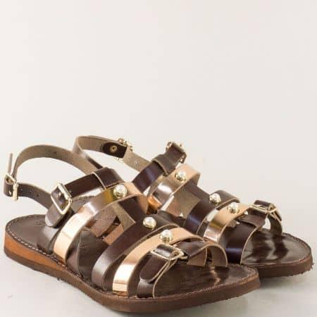 Равни дамски сандали в кафяво и златно с три катарами n303kk