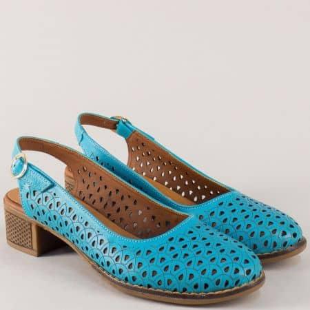 Дамски обувки в син цвят с кожена стелка и среден ток  n324ss