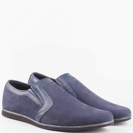 Мъжки ежедневни обувки произведени от 100% естествени материали в син цвят  n41ns