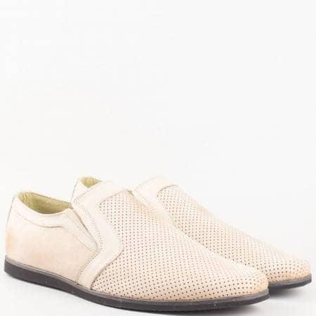 Мъжки ежедневни обувки изработени от 100% естествени материали в бежов цвят n41nzbj